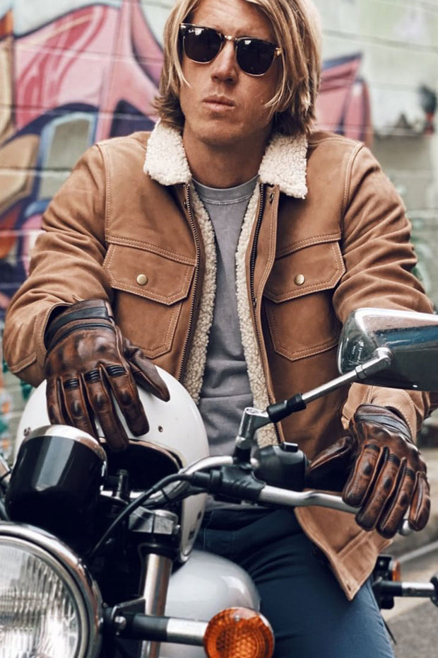 Boston Brown Leather Gloves online at Moto Est Australia