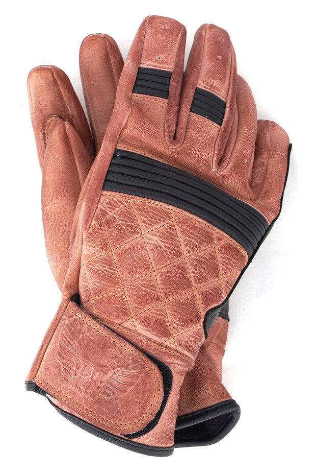 Blackbird Motorcycle Wear Café Quilted Leather Motorcycle Gloves in Burnt Brown/Black online at Moto Est. Australia