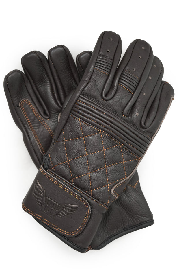 Buy the cafe quilted gloves chocolate online at Moto Est. Australia 3