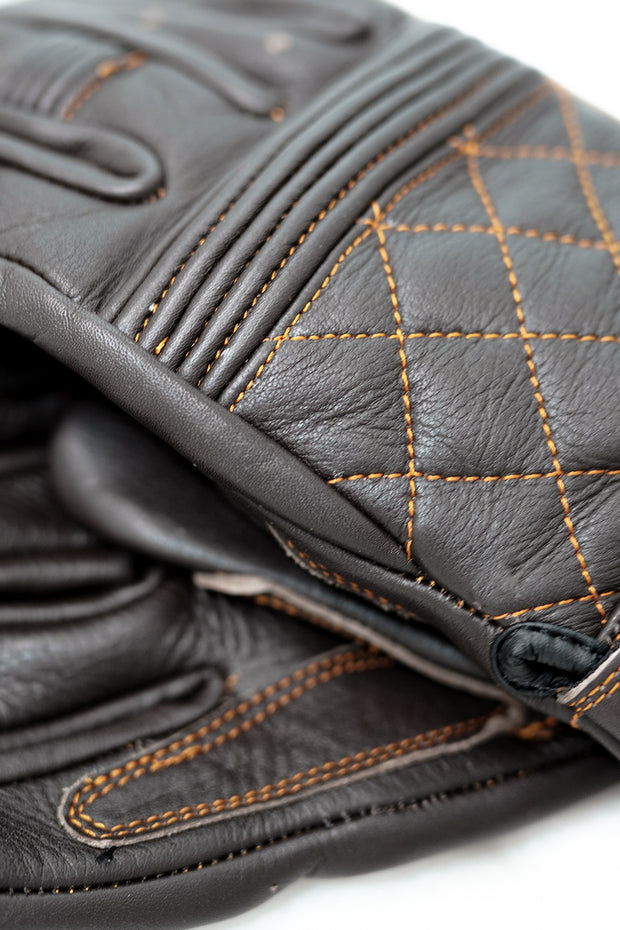 Buy the cafe quilted gloves chocolate online at Moto Est. Australia 4