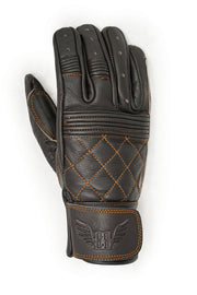 Blackbird Motorcycle Wear Café Quilted Leather Motorcycle Gloves in Chocolate online at Moto Est. Australia