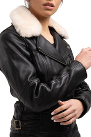 womens leather biker motorcycle jacket