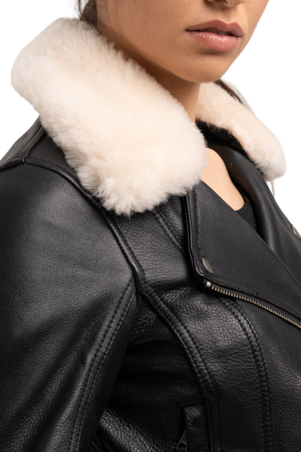leather jacket with removable fur collar