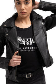 Blackbird Fly By Night Women's Leather Motorcycle Jacket Moto Est