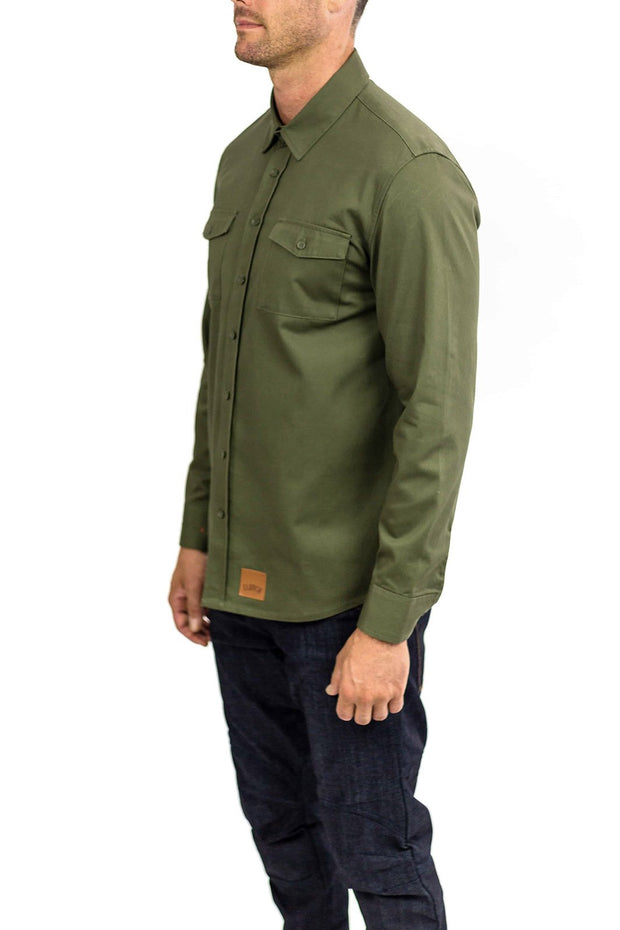 Clutch Moto Recon Military Green - Long Sleeve Riding Shirt Moto Est Australia