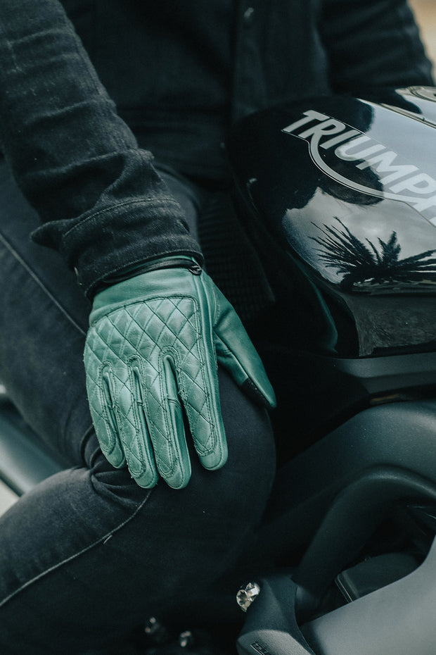 Liberta Moto Gear  Kiwi Women's Green Leather Motorcycle Gloves Moto Est.