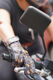 New Black Arrow Moto women's Queen Bee gloves in tortoiseshell  leather, Australia