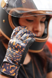New Black Arrow Moto Queen Bee gloves in tortoiseshell  leather, Melbourne Australia