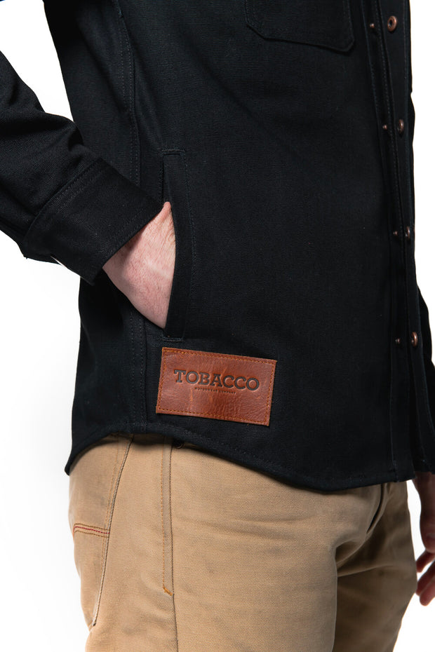 Tobacco Motorwear  California 2.0 Men's Black Cotton Canvas Motorcycle Riding Shirt pockets