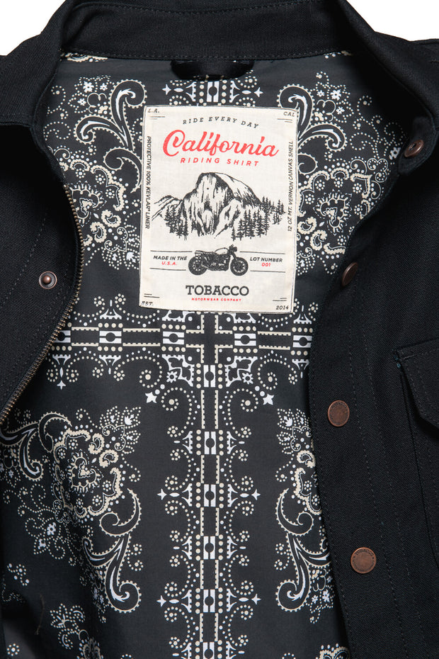 Tobacco Motorwear  California 2.0 Men's Black Cotton Canvas Motorcycle Riding Shirt bandana