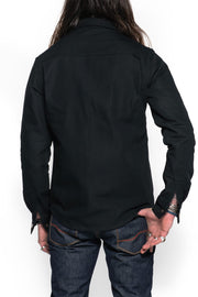 Tobacco Motorwear  California 2.0 Men's Black Cotton Canvas Motorcycle Riding Shirt kevlar