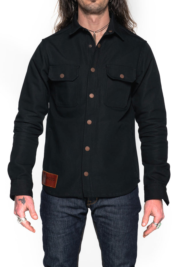 Tobacco Motorwear Company  California 2.0 Men's Black Cotton Canvas Motorcycle Riding Shirt