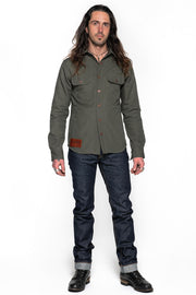 Tobacco California 2.0 Men's Moss Cotton Canvas Motorcycle Kevlar Riding Shirt