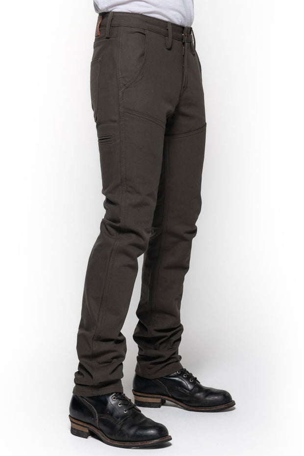 Tobacco Motorwear Company  Journeymen Men's Olive Canvas Motorcycle Pants at Moto Est, Melbourne Australia