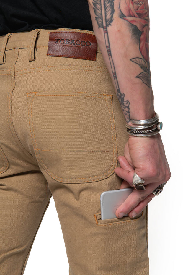 Tobacco Journeymen Men's Sand Canvas Motorcycle Pants Moto Est.