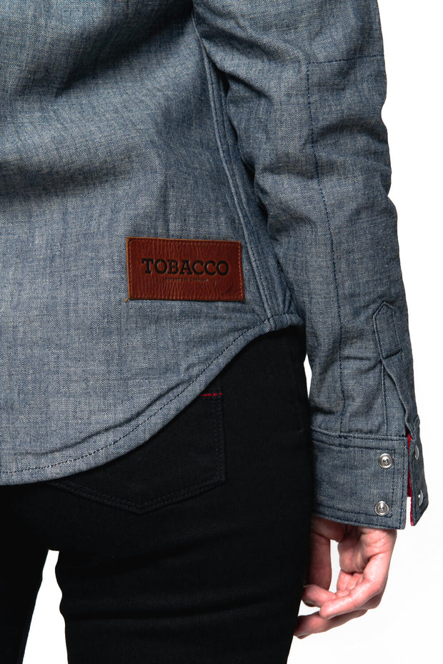 Tobacco Motorwear Company  Riveter Women's Indigo Chambray Denim Motorcycle Riding Shirt kevlar