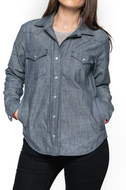 Tobacco Motorwear Company  Riveter Women's Indigo Chambray Denim Motorcycle Riding Shirt moto est
