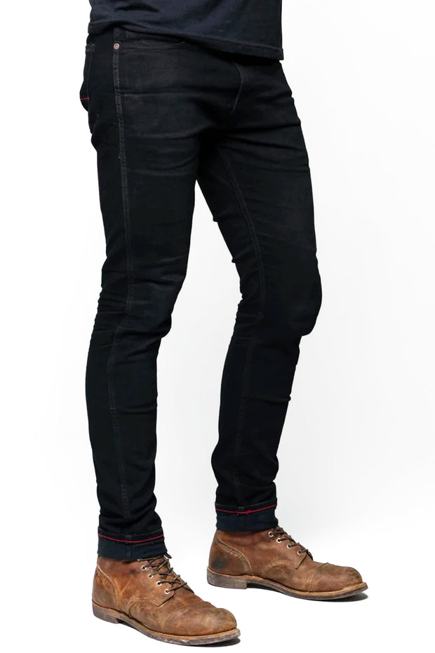 Riot Men's Black Skinny Fit Riding Jeans