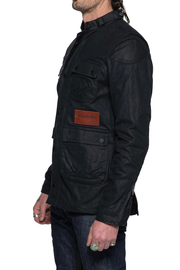 Tobacco   McCoy Men's Black Waxed Cotton Motorcycle Jacket Australia 1
