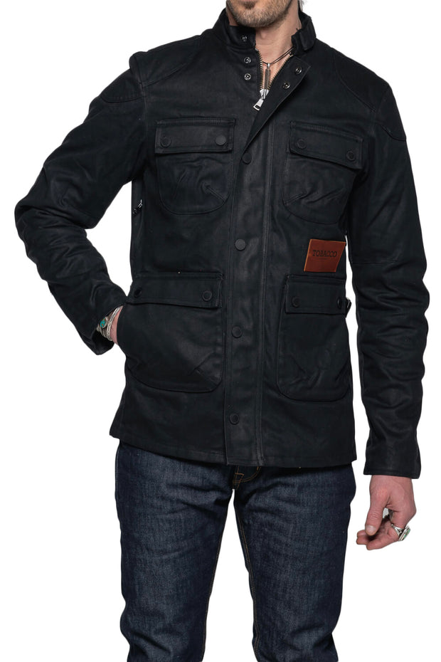 Tobacco Motorwear Company  McCoy Men's Black Waxed Cotton Motorcycle Jacket Australia