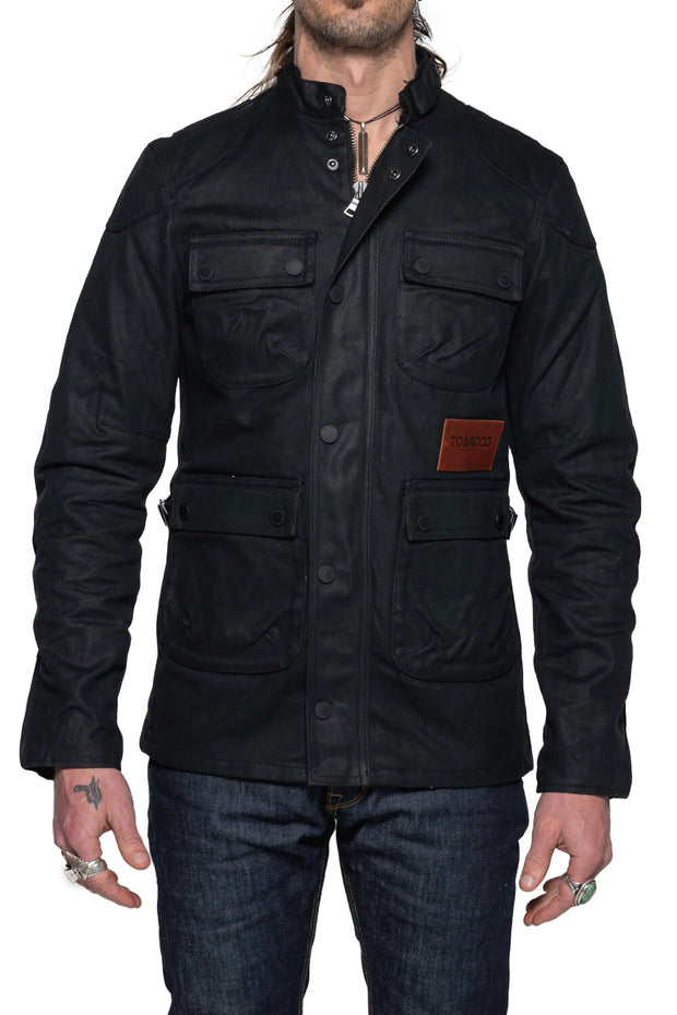 Tobacco   McCoy Men's Black Waxed Cotton Motorcycle Jacket Moto Est. Australia 4