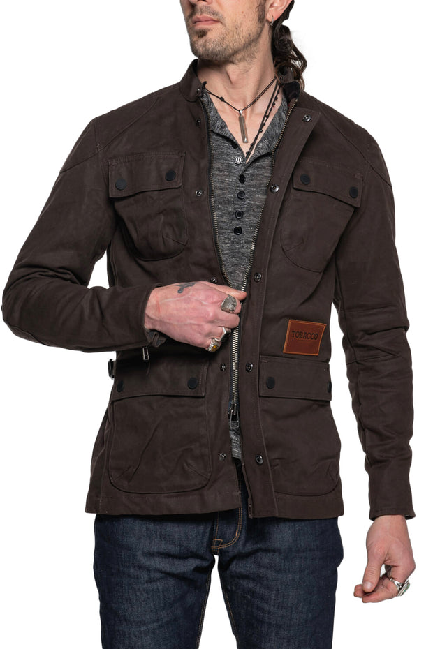 Tobacco McCoy Men's Waxed Cotton Motorcycle Jacket Moto Est. Australia 4