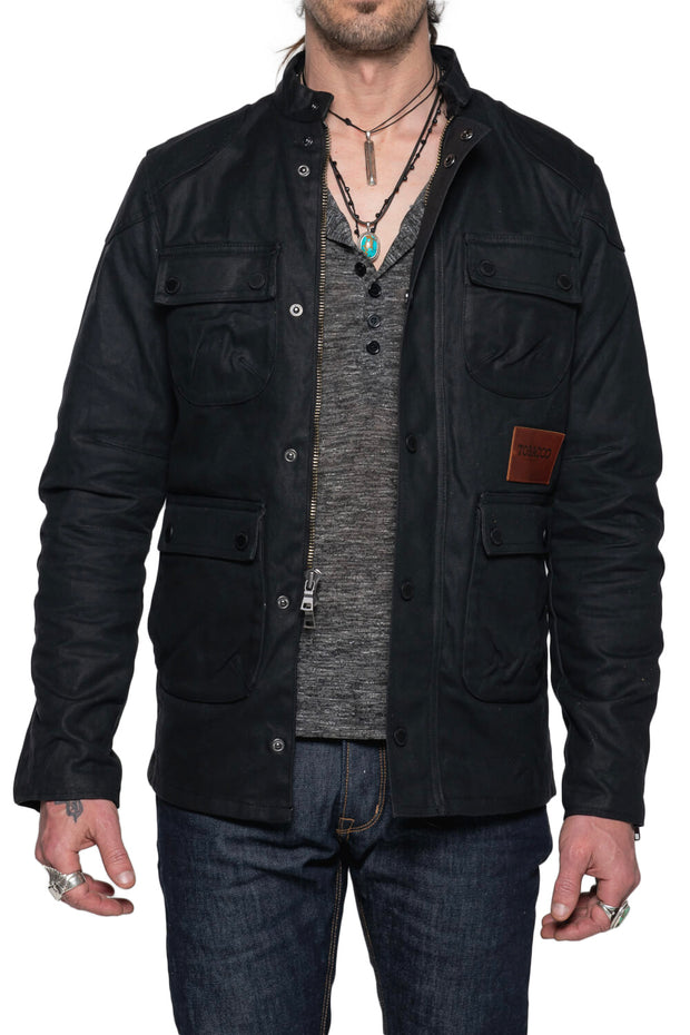Tobacco   McCoy Men's Black Waxed Cotton Motorcycle Jacket Australia