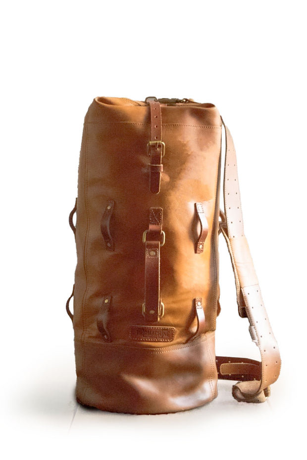 Trip Machine Military Tan Leather Motorcycle Duffle Bag Australia