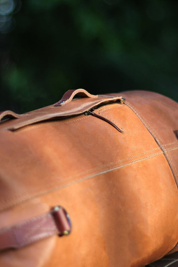 leather Duffle Bag Motorcycle Mountable