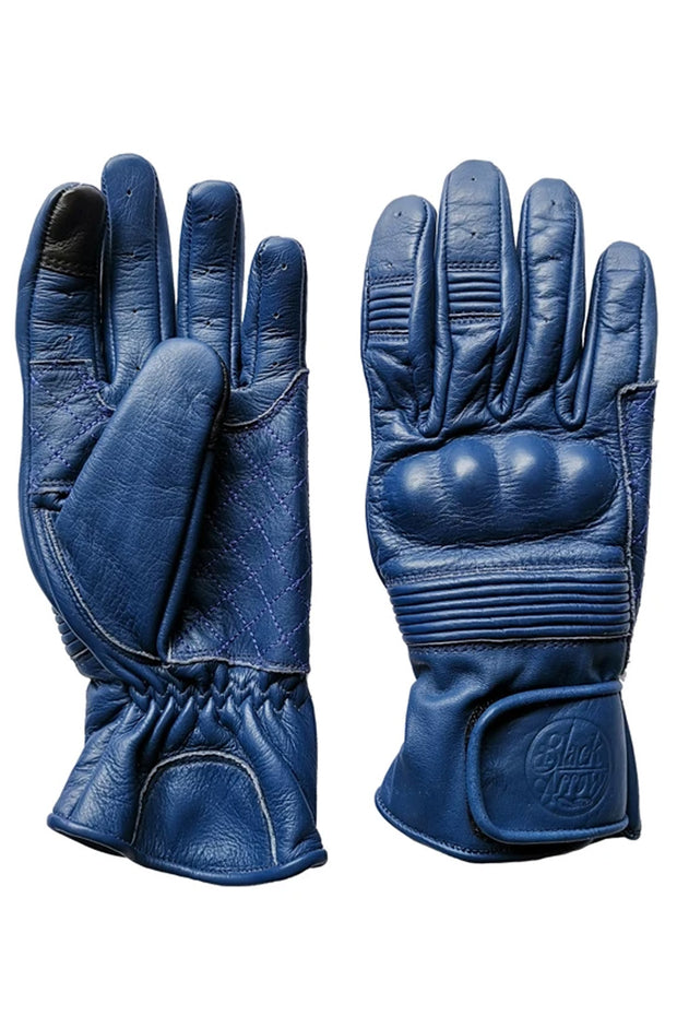 Black Arrow Moto Gear Queen Bee Cobalt Blue Women's Leather Motorcycle Gloves - Moto Est.