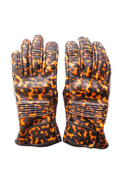 Queen Bee Women's Tortoiseshell Print Leather Gloves