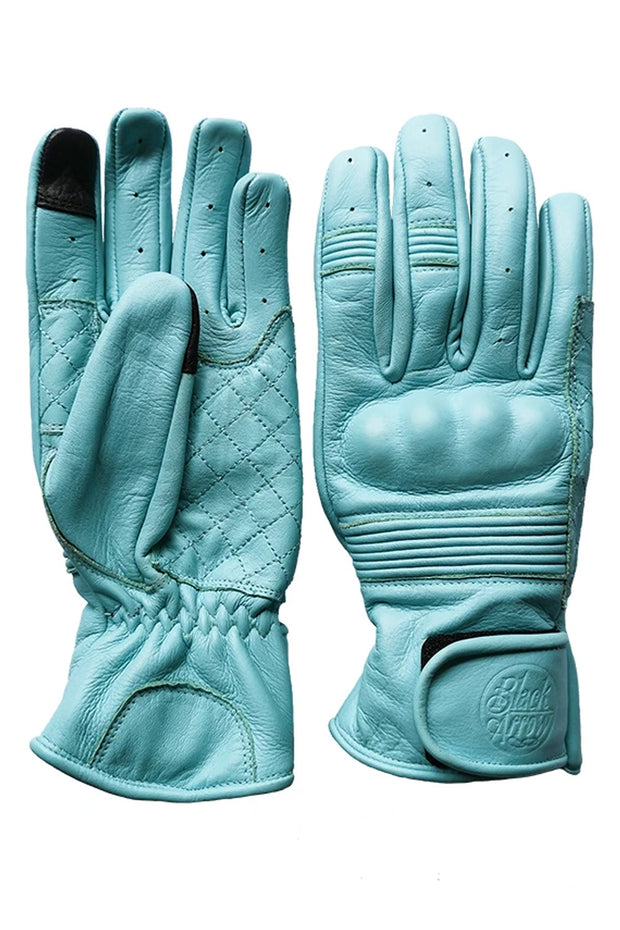 Black Arrow Moto Gear Queen Bee Turquoise Blue Women's Leather Motorcycle Gloves - Moto Est.