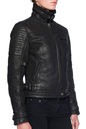 Night Hawk Women's Nubuck Leather Motorcycle Jacket