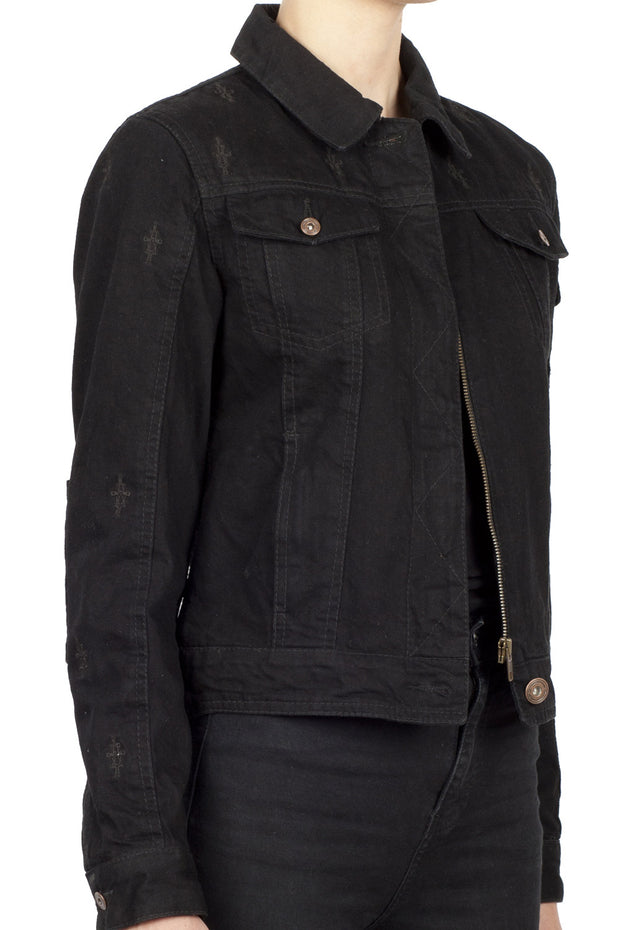 Buy the nowhere bound denim jacket black online at Moto Est. Australia 4