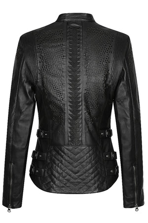 Trix Women's Leather Motorcycle Jacket