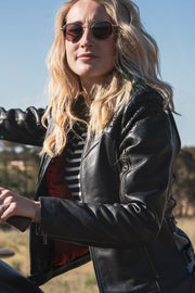 Buy the black arrow red label trix womens leather motorcycle jacket online at Moto Est. Australia 4