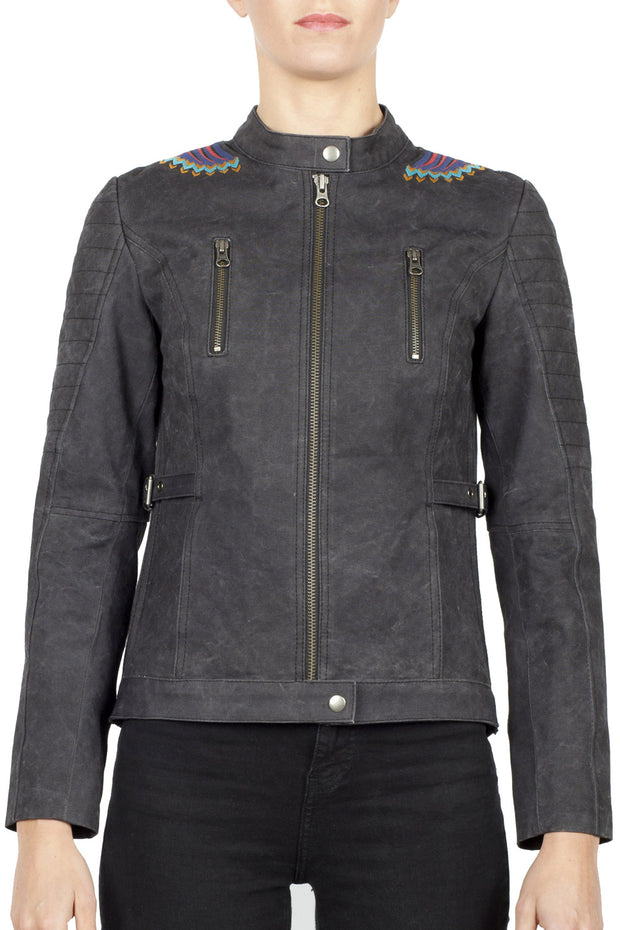 Black Arrow Label Urban Tribe Women's Waxed Cotton Canvas Motorcycle Jacket online at Moto Est. Australia