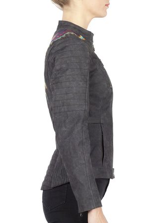 Urban Tribe Women's Waxed Cotton Canvas Motorcycle Jacket