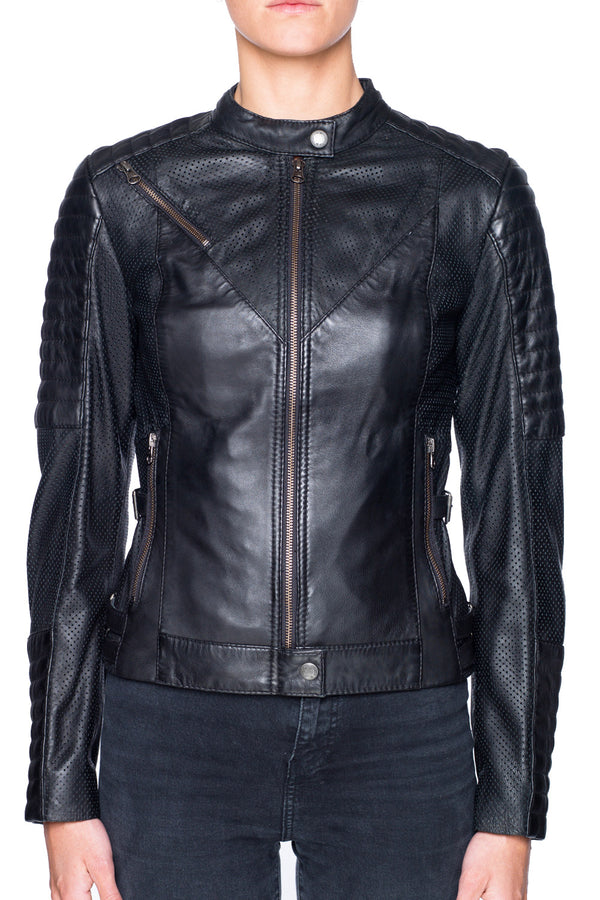 Wild & Free Women's Leather Motorcycle Jacket