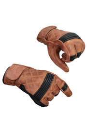 Blackbird Motorcycle Wear  Café Quilted Natural Black Leather Motorcycle Gloves
