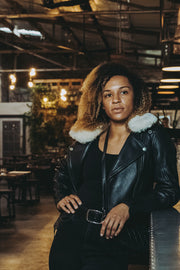 Womens leather aviator jacket