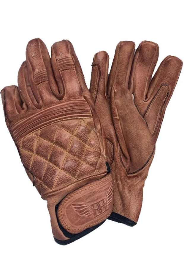 Blackbird Motorcycle Wear Café Quilted Leather Motorcycle Gloves in Burnt Brown online at Moto Est. Australia