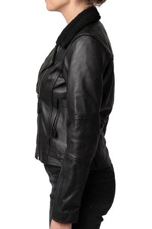 Night Owl Women's Leather Motorcycle Jacket