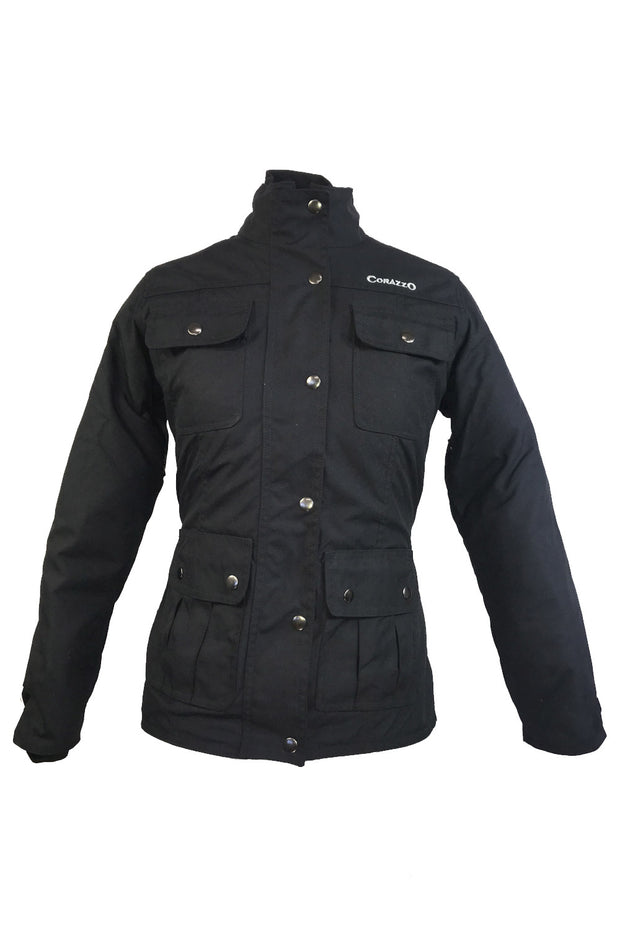 Corazzo Design Avventura Women's Vegan Motorcycle Jacket in Black online at Moto Est. Australia