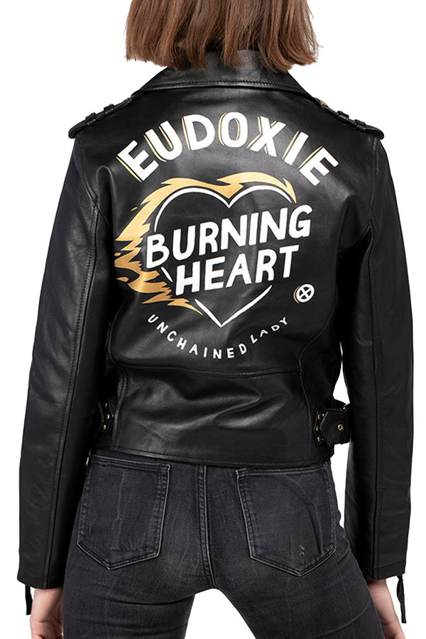 Burning Heart Women's Leather Motorcycle Jacket