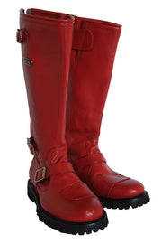 Gasolina Ton-Up Women's Leather Motorcycle Boots in Red online at Moto Est. Australia