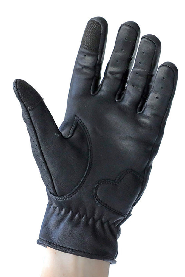 Liberta Moto New Women's Beetle Black Leather Motorcycle Gloves - Moto Est. 3