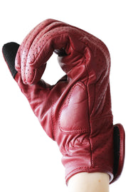 Liberta Moto New Women's Beetle Leather Motorcycle Gloves in Red at Moto Est