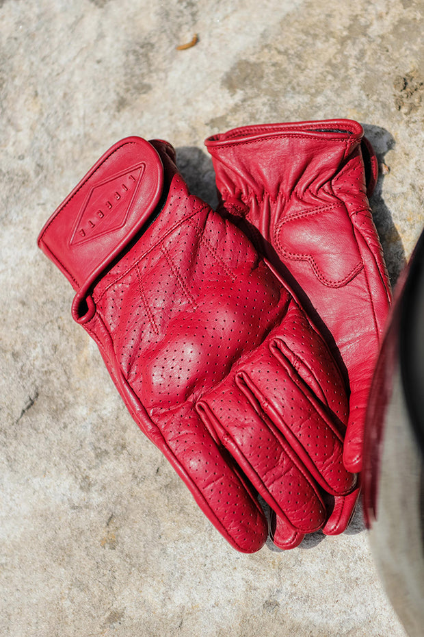 Liberta Moto New Women's Beetle Leather Motorcycle Gloves in Red at Moto Est 2