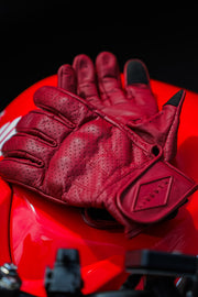 Liberta Moto New Women's Beetle Leather Motorcycle Gloves in Red at Moto Est 4